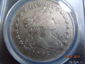 1796 DRAPED BUST DOLLAR PCGS XF DETAILS SMALL DATE LARGE LETTERS TOUGH DATE