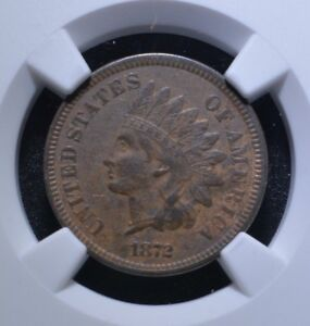 1872 1C INDIAN HEAD CENT XF45 BN NGC