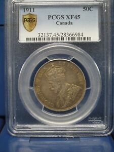 Click now to see the BUY IT NOW Price! 1911 CANADA SILVER DOLLAR $1 PCGS XF45 GEORGIVS V REX DOLLAR