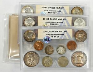 Click now to see the BUY IT NOW Price! 1948 PDS DOUBLE MINT SET OSV ANACS COMPOSITE GRADE P MS65.98 D MS65.63 S MS66.27