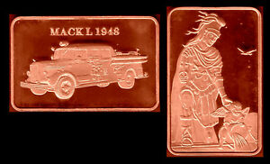 COPPER PLATED BAR : FIREMEN FIREFIGHTERS VEHICLE : MACK L 1948