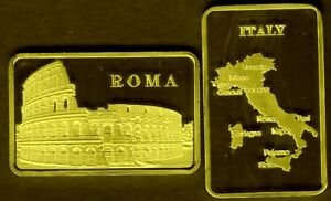 GOLD PLATED BAR : ROME : COLISEUM GLADIATORS ITALY