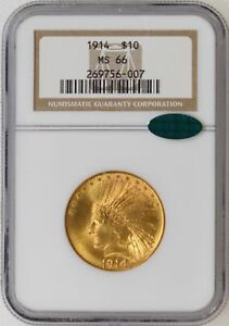 Click now to see the BUY IT NOW Price! 1914 P NGC MS66 CAC $10.00 INDIAN GOLD EAGLE FANTASTIC LUSTER & STRIKE   I 14645