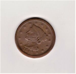 LARGE PENNY 1845  GOOD DETAIL/COLOR  SOME PROBLEMS