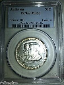 1937 50C ANTIETAM SILVER COMMEMORATIVE  MS66