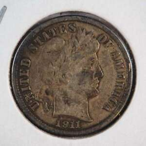1911 D BARBER DIME WITH FULL LIBERTY 90  SILVER FINE  VF    SKU 30USDM