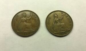 GREAT BRITAIN ONE PENNY GEORGIUS VI LOT OF 2 COINS 1940 1945 CIRCULATED