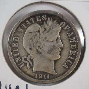 1911 D BARBER DIME WITH FULL LIBERTY 90  SILVER FINE  VF    SKU 34USDM