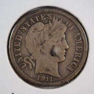 1911 D BARBER DIME WITH FULL LIBERTY 90  SILVER FINE  F    SKU 35USDM
