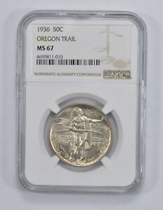 MS67 1936 OREGON TRAIL MEMORIAL COMMEMORATIVE HALF DOLLAR   NGC GRADED  2099