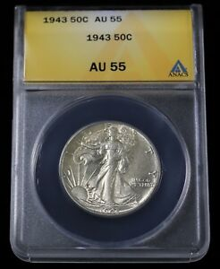 1943 US 50C LIBERTY WALKING HALF DOLLAR COIN CH ALMOST UNC ABOUT ANACS AU 55