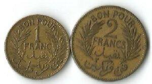 TUNISIA. 1 FRANC AND 2 FRANCS 1921.