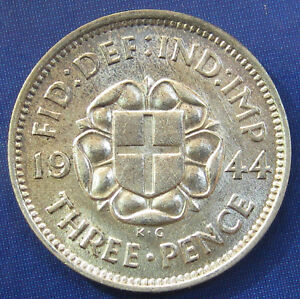 1944 3D GEORGE VI  SILVER THREEPENCE IN AN LY HIGH GRADE