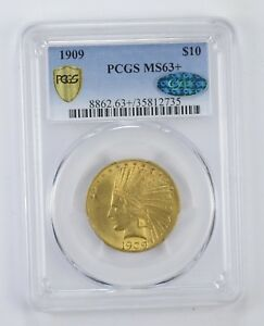MS63  1909 CAC $10.00 INDIAN HEAD GOLD EAGLE   GRADED BY PCGS  8426