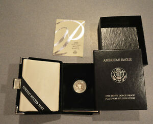 2002W 1/10 OZ $10 PLATINUM AMERICAN EAGLE W/ ORIGINAL BOX AND PAPERS