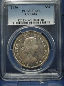 Click now to see the BUY IT NOW Price! 1956 $1 CANADA SILVER DOLLAR PCGS PL66 ELIZABETH II DOLLAR