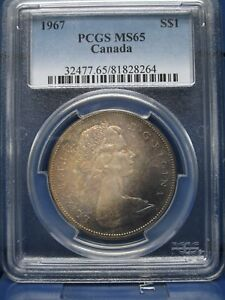 Click now to see the BUY IT NOW Price! 1967 $1 CANADA SILVER DOLLAR PCGS MS65 ELIZABETH II DOLLAR