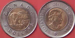 BRILLIANT UNCIRCULATED 2011 CANADA 2 DOLLARS FROM MINT'S ROLL