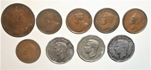 9 CANADA COINS 1 CENT  1919 TO 19481948  5 CENT 1947 ML TO 1952