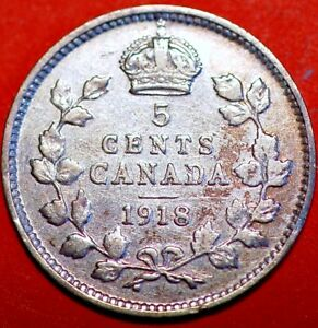 1918 CANADA 5 CENTS GEORGE V KM 22 SILVER