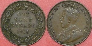 VERY FINE 1916 CANADA LARGE 1 CENT