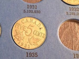 1935 CANADIAN FIVE CENT PENNY CANADA NICKEL