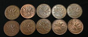 1970 79 CANADA CENTS CANADIAN PENNIES   10 DIFFERENT   CHEAP