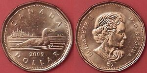 BRILLIANT UNCIRCULATED 2009 CANADA 1 DOLLAR FROM MINT'S ROLL