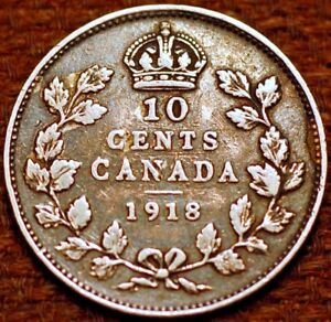 CANADA. 10 CENTS 1918 GEORGE V. SILVER.