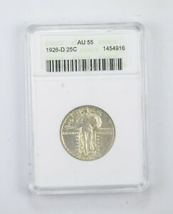 AU55 1926 D STANDING LIBERTY QUARTER   GRADED BY ANACS  8396