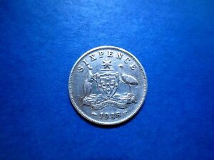 AUSTRALIA 6 PENCE 1938 LIGHTLY CIRCULATED  .925 SILVER