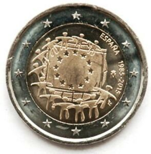 SPAIN 2 EURO 2015 30TH ANNIVERSARY OF THE FLAG OF EUROPE  1958