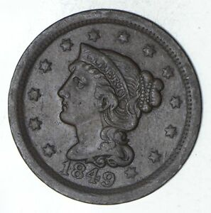 1849 BRAIDED HAIR LARGE CENT   CIRCULATED  9254
