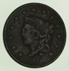 1836 YOUNG HEAD LARGE CENT   CIRCULATED  6444