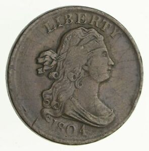 1804 DRAPED BUST HALF CENT   PLAIN 4 NO STEMS   CIRCULATED  4053