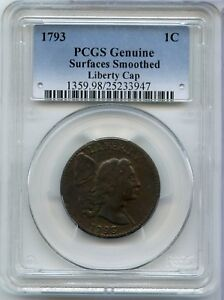 1793 LIBERTY CAP LARGE CENT PENNY   PCGS GENUINE CERTIFIED 1C COIN   JX666