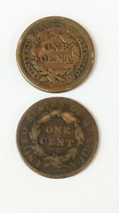 1820 AND 1850 LARGE PENNIES
