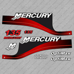 Mercury OptiMax Bluewater 135 HP Red Outboard Laminated Decals Stickers Kit