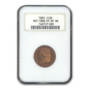 Click now to see the BUY IT NOW Price! 1831 HALF CENT PF 65 NGC  RED/BROWN REV. OF 1836    SKU187056