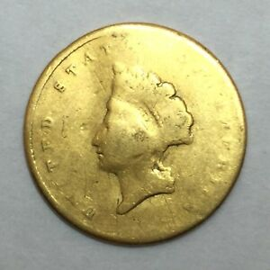 $1 TYPE 2 U.S. GOLD COIN WORN REPAIRED REV.