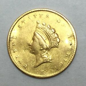 1855 $1 TYPE 2 INDIAN PRINCESS SMALL HEAD U.S. GOLD