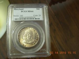 1934 .50 STERLING MARYLAND PCGS MS 64 COMM COIN