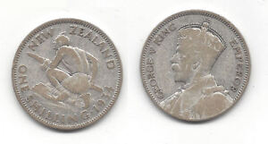1934 NEW ZEALAND SILVER SHILLING COIN  K1782