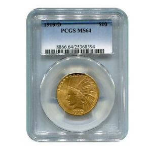 CERTIFIED US GOLD $10 INDIAN 1910 D MS64 PCGS
