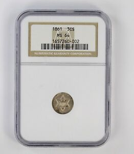 MS64 1861 SILVER THREE CENT PIECE   NGC GRADED  6748