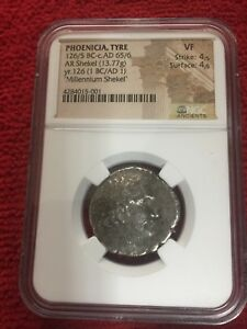 Click now to see the BUY IT NOW Price! MILLENNIUM SHEKEL PHOENICIA TYRE NGC VF TYRIAN JERUSALEM KP MONOGRAM SILVER COIN