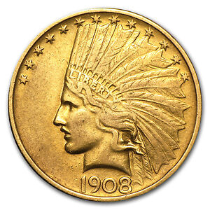 1908 $10 INDIAN GOLD EAGLE  NO MOTTO CLEANED    SKU 73342