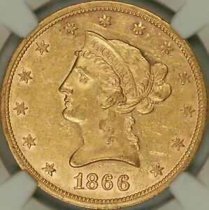 Click now to see the BUY IT NOW Price! 1866 MOTTO $10 LIBERTY EAGLE NGC AU58