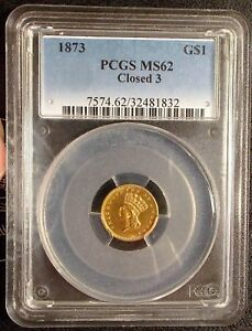 Click now to see the BUY IT NOW Price! 1873  CLOSED 3 VARIETY PCGS MS62 TYPE 3 $1 ONE DOLLAR GOLD PRINCESS LARGE HD