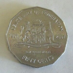 2001 CENTENARY OF FEDERATION NORFOLK ISLAND   AUSTRALIAN FIFTY/50 CENT COIN CIRC
